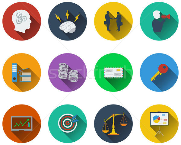 Set of business icons in flat design Stock photo © angelp