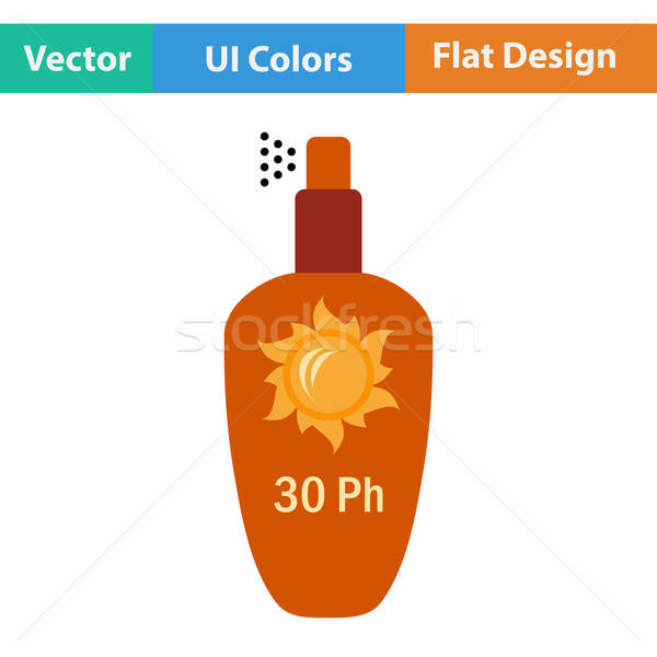 Flat design icon of sun protection spray Stock photo © angelp