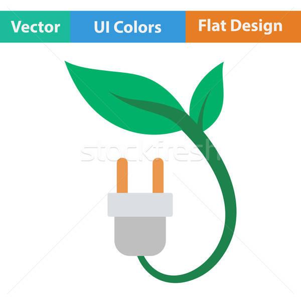 Elettrici plug foglie icona tecnologia energia Foto d'archivio © angelp