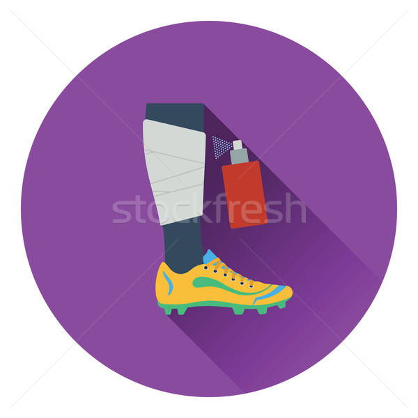 Icon of football bandaged leg with aerosol anesthetic Stock photo © angelp