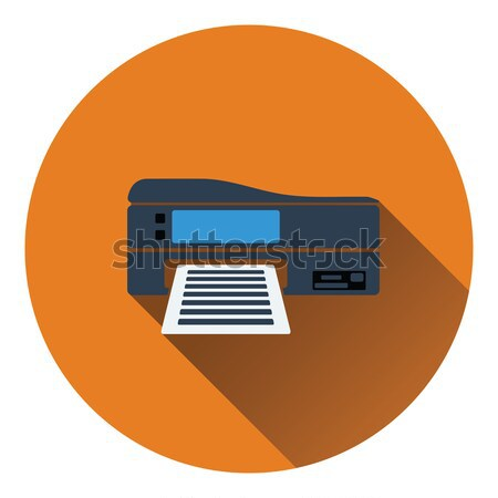 Printer icon kleur ontwerp business computer Stockfoto © angelp