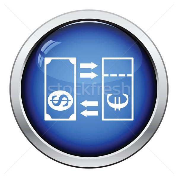 Valuta scambio icona lucido pulsante design Foto d'archivio © angelp