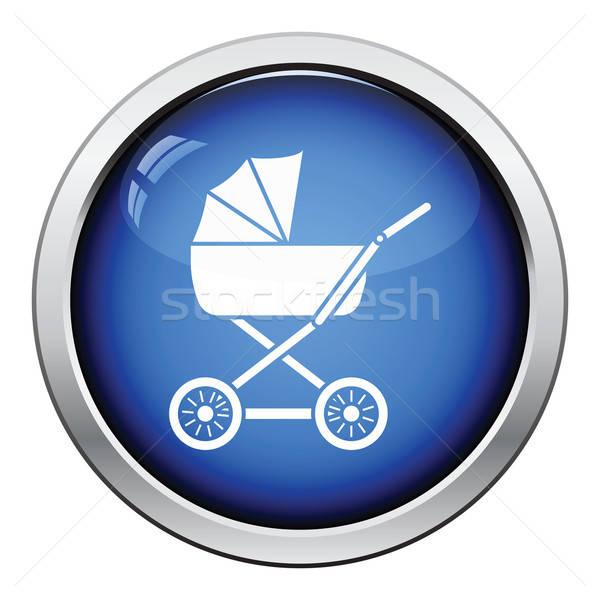 Babakocsi ikon fényes gomb terv gyermek Stock fotó © angelp