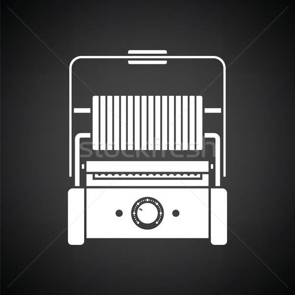 Cucina elettrici grill icona bianco nero alimentare Foto d'archivio © angelp