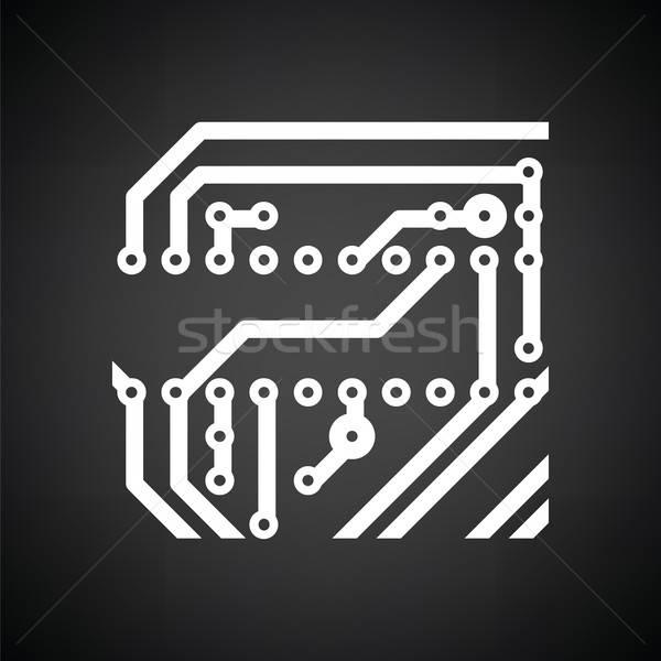Circuit board icon zwart wit technologie wetenschap communicatie Stockfoto © angelp