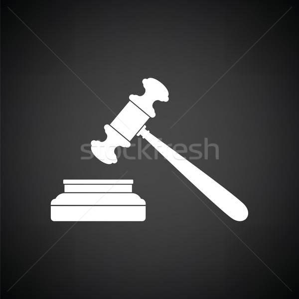 ストックフォト: 裁判官 · ハンマー · アイコン · 黒白 · 黒 · 成功