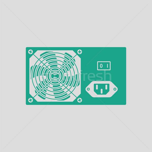 Moc jednostka ikona szary zielone serwera Zdjęcia stock © angelp