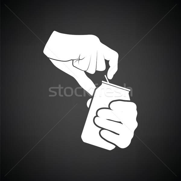 Umani mani apertura alluminio può icona Foto d'archivio © angelp