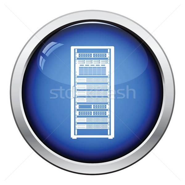 Szerver rack ikon fényes gomb terv üzlet Stock fotó © angelp