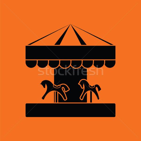 Kinderen paard carrousel icon oranje zwarte Stockfoto © angelp