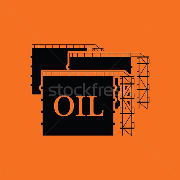 Yağ tank depolama ikon turuncu siyah Stok fotoğraf © angelp
