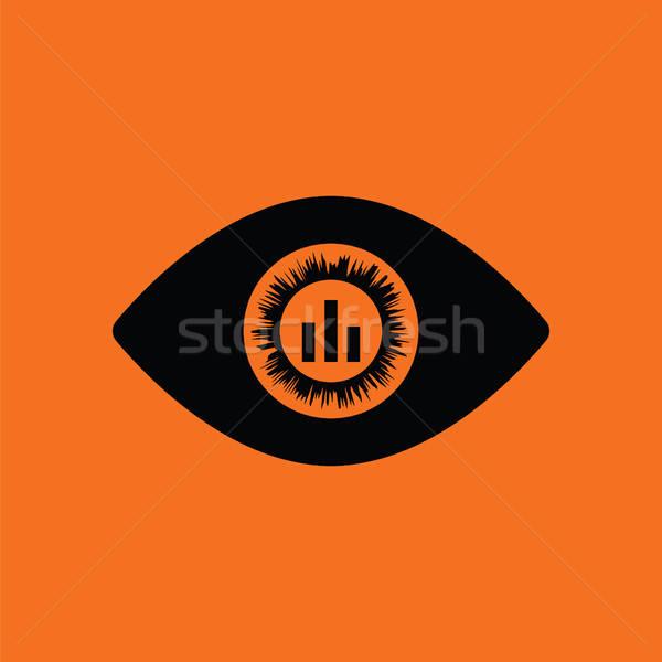 Oeil marché graphique à l'intérieur icône orange Photo stock © angelp