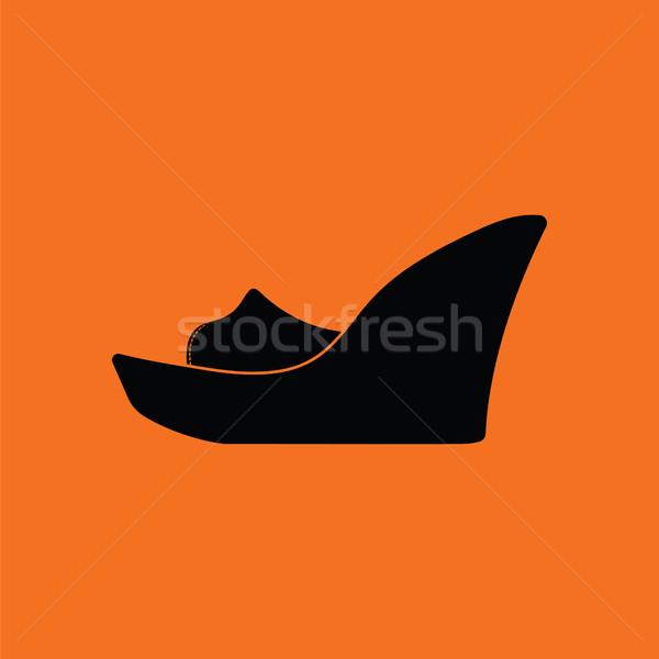プラットフォーム 靴 アイコン オレンジ 黒 ファッション ストックフォト © angelp