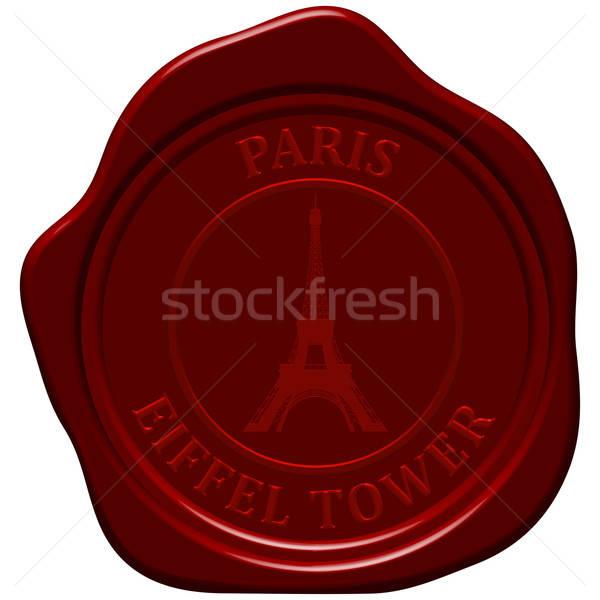 Eiffel-torony viasz bélyeg terv építkezés háttér Stock fotó © angelp