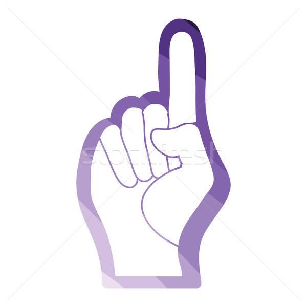 Ventillátor hab kéz legelső kézmozdulat ikon Stock fotó © angelp