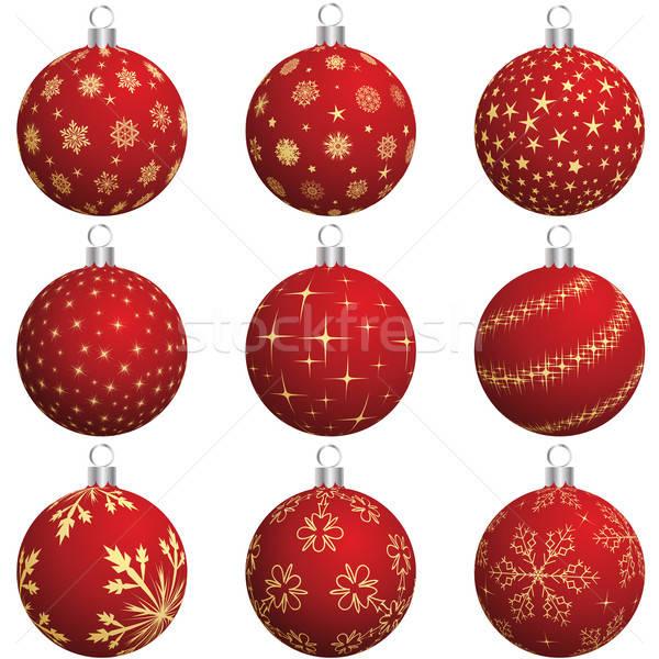 Karácsony labda szett új év golyók terv Stock fotó © angelp