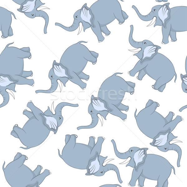 Stock photo: Seamless Funny Cartoon Elephant