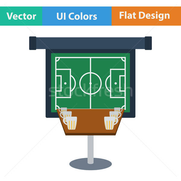 Sport bar table with mugs of beer and football translation on projection screen icon. Flat design in Stock photo © angelp
