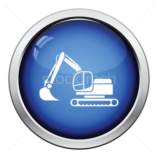 Ikon építkezés kotrógép fényes gomb terv Stock fotó © angelp
