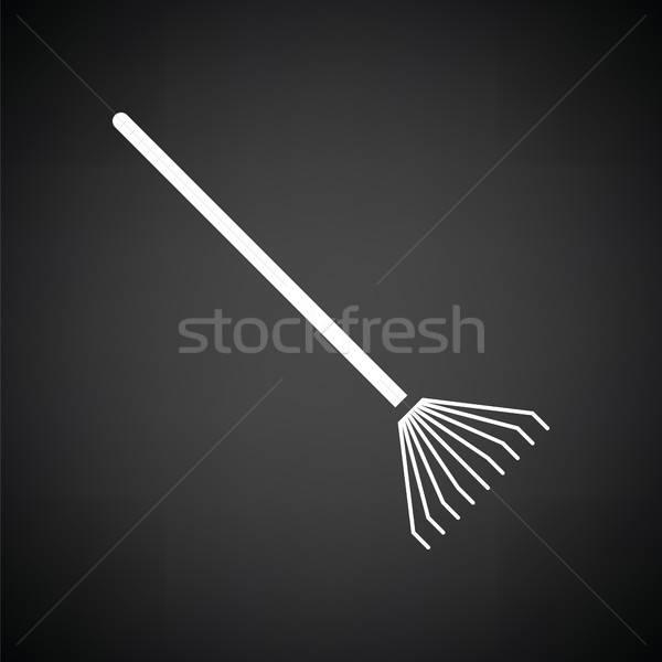 Gereblye ikon feketefehér fű munka természet Stock fotó © angelp