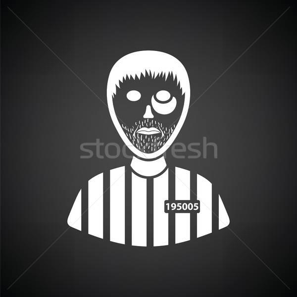 Prisioneiro ícone preto e branco mão segurança lei Foto stock © angelp