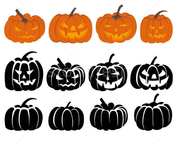 Stok fotoğraf: Kabak · ayarlamak · halloween · siyah · turuncu · arka · plan
