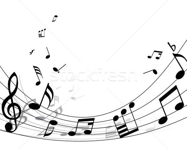 Személyzet zenei hang vektor hátterek jegyzetek vonalak Stock fotó © angelp
