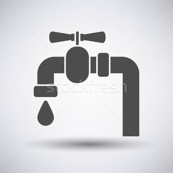 Cső szelep ikon szürke víz építkezés Stock fotó © angelp