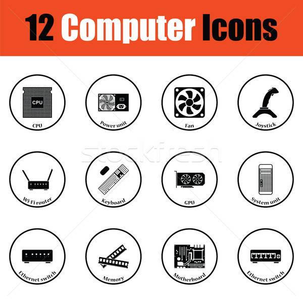Szett számítógép ikonok vékony kör terv számítógép Stock fotó © angelp