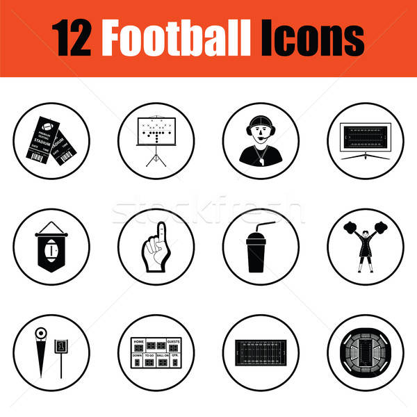 Сток-фото: американский · футбола · икона · тонкий · круга · дизайна