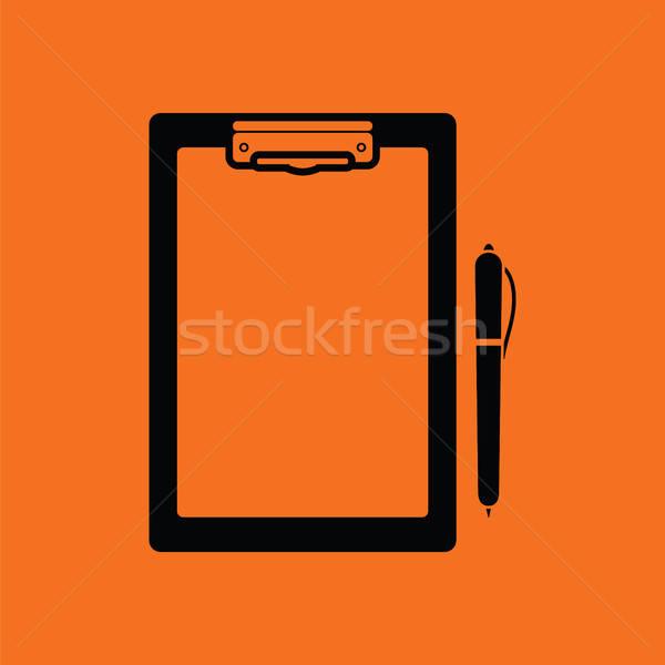 Comprimido caneta ícone laranja preto escritório Foto stock © angelp