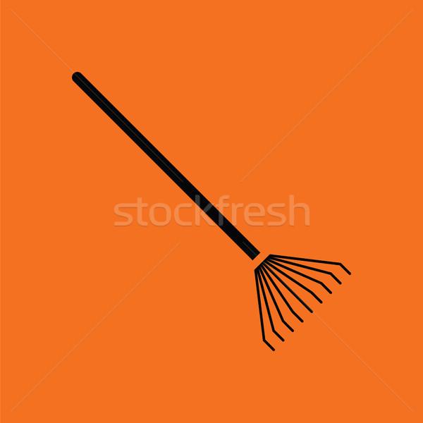 Gereblye ikon narancs fekete fű munka Stock fotó © angelp