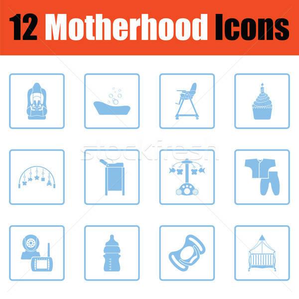 Anyaság ikon gyűjtemény kék keret terv nő Stock fotó © angelp