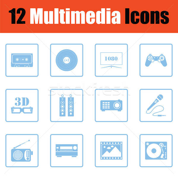 Conjunto multimídia ícones azul quadro Foto stock © angelp