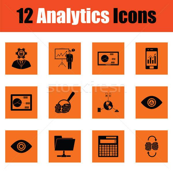 Analitica arancione design business laptop Foto d'archivio © angelp