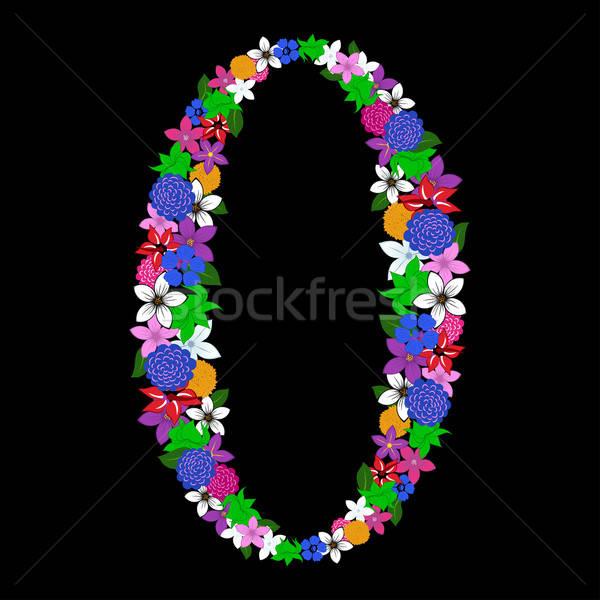 Kwiatowy liczebnik internetowych wydruku projektu kwiat Zdjęcia stock © angelp