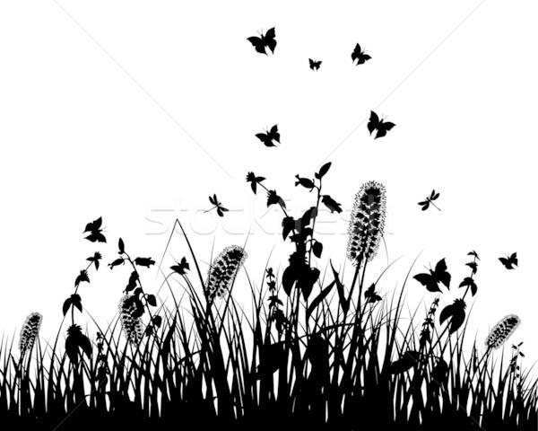 ストックフォト: 草原 · シルエット · ベクトル · 草 · オブジェクト