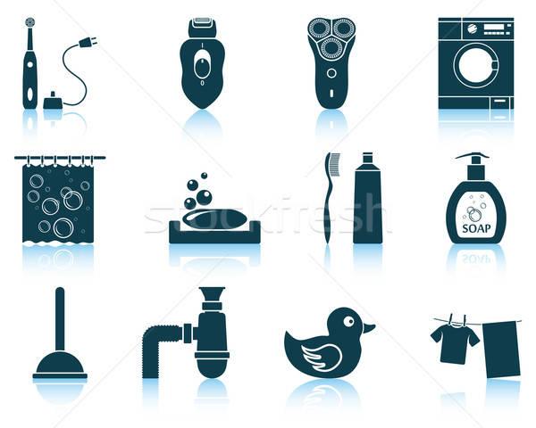 Set of bathroom icons Stock photo © angelp