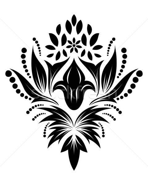 ダマスク織 エンブレム スタイル 白 花 背景 ストックフォト © angelp