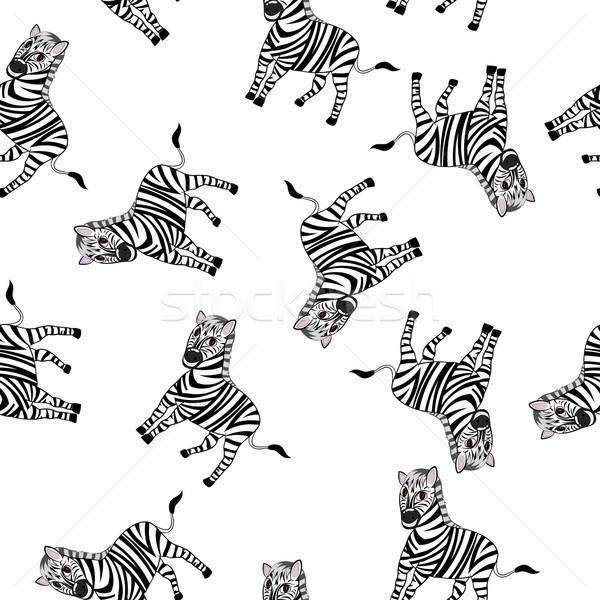 Sem costura engraçado desenho animado zebra Foto stock © angelp