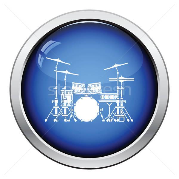 Tambor conjunto ícone botão projeto Foto stock © angelp