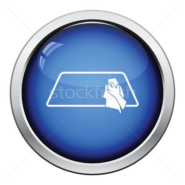 Silme araba pencere ikon parlak düğme Stok fotoğraf © angelp