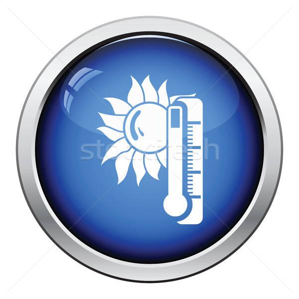 Estate calore icona lucido pulsante design Foto d'archivio © angelp