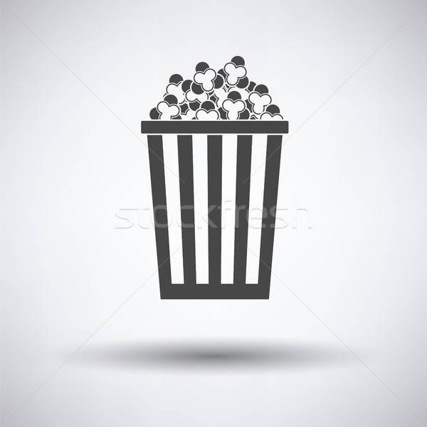 ストックフォト: 映画 · ポップコーン · アイコン · グレー · デザイン · 背景