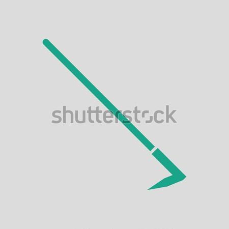 Schoffel icon grijs groene gras werk Stockfoto © angelp