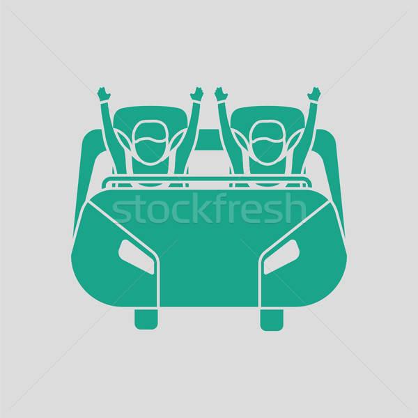 Hullámvasút kosár ikon szürke zöld jókedv Stock fotó © angelp
