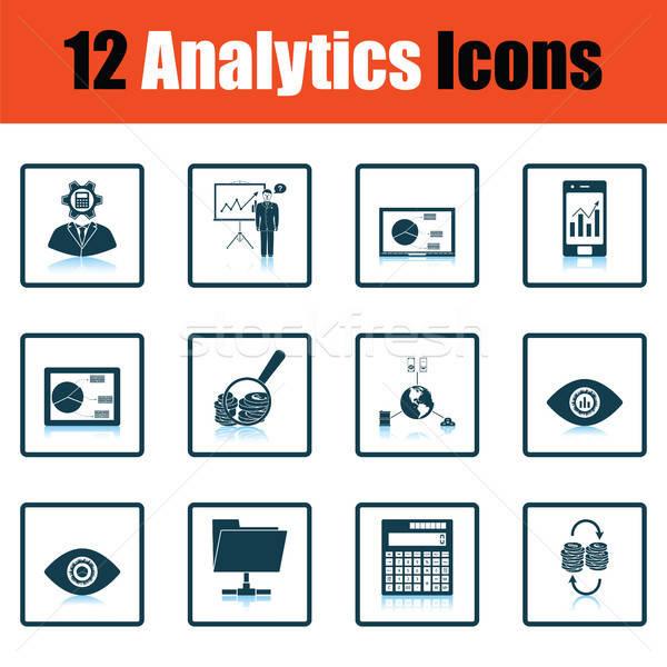 Analitika ikon gyűjtemény árnyék tükröződés terv üzlet Stock fotó © angelp