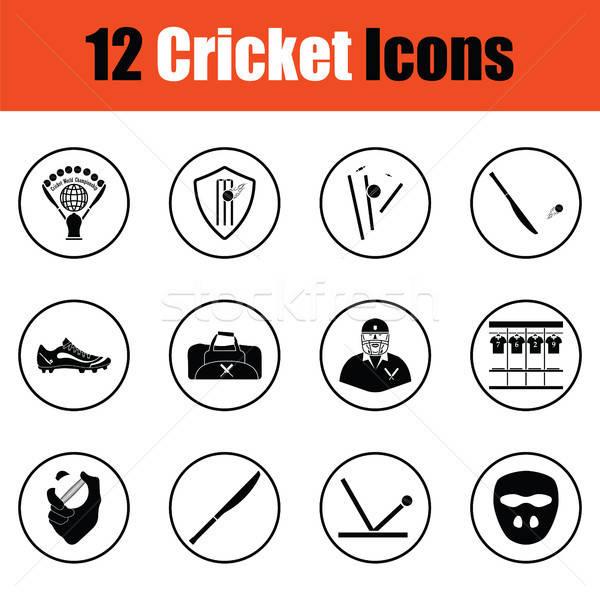 Cricket icon set Stock photo © angelp