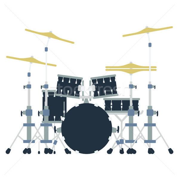 Tambor conjunto ícone cor projeto música Foto stock © angelp