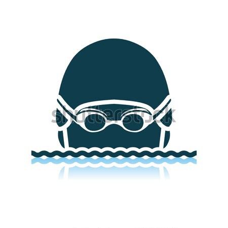 Swimming man head icon Stock photo © angelp